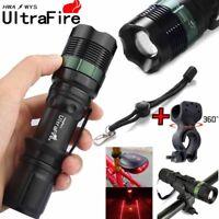 Zoom 50000LM LED Flashlight T6 Bicycle Bike Lamp Laser 18650 Torch Mount Holder