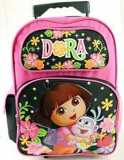 """NEW  Dora Girls Kids  16"""" Large Rolling Backpack Bag  School Roller Bag"""