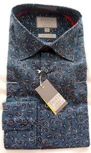 Men's Rocola Formal / School / Casual Shirt - Blue Paisley Print - 16'' NEW