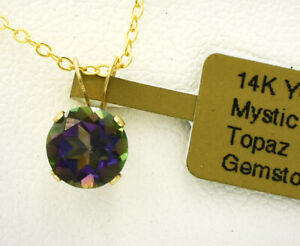 MYSTIC TOPAZ 1.67 Cts SOLITAIRE PENDANT 14k GOLD * New With Tag *