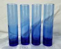 4 Cobalt Blue Hand Blown Stemless Cordial Aperitif Shot Glasses Stemless Flute