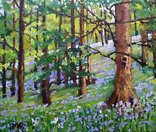 Original Impressionist Painting by Melanie Reynoso : Bluebell Forest Hollow Tree