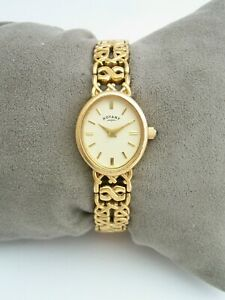 ROTARY WOMENS WATCH 11055 VINTAGE GOLD STAINLESS STEEL BRACELET GENUINE