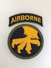 GENUINE WWII U.S. Army 17th Airborne Division cloth sleeve patch with Airborne