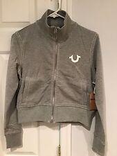 NWT True Religion Women's Big T Terry Zip Up Cropped Jacket Sweatshirt Sz Small