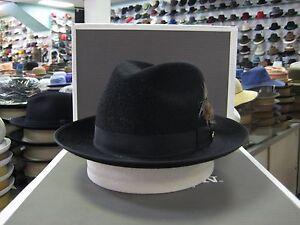 STETSON SORVANO BLACK LONG HAIR SILK FINISH FUR FELT FEDORA DRESS HAT
