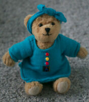 """American Girl Doll Jointed 5.5"""" Teddy Bear Blue Night Shirt 1996 Girl Of Today"""