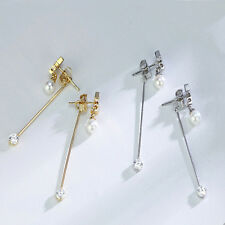 Silver Golden Plated Clear Zircon Long Chain Tassel Star Piercing Earring