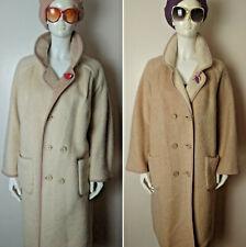 Vintage 1960's Oversized Cream/Beige Two Way Mohair Wool Coat. Size 16.