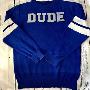"Children's Place Boys Crew Neck Sweater Blue Gray White ""DUDE"" Size. M 7/8"