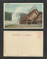 1920s OLD FAITHFUL AND OLD FAITHFUL INN YELLOWSTONE PARK POSTCARD