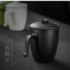 Black Ceramic Cup for Loose Tea Teacup Mug with Lid & Inbuilt Filter 270ml