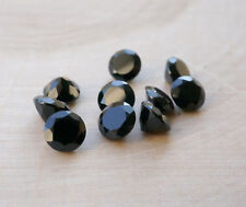 10 PCS WHOLESALE LOT BLACK SPINEL 7X7 MM FACETED CUT ROUND LOOSE GEMSTONE