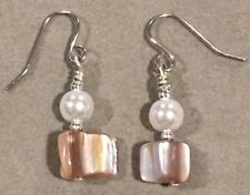 STONE Earrings Surgical Hook New Mother of Pearl