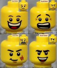 LEGO - 4x Male Heads Lot - Yellow Face Laugh Scared Scratches Grin Tears Glasses