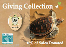 Save Sea Turtles Tie Tack I Love Turtles Lapel Pin Mima Oly 10% Donated Gift Box