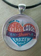 "Disney's FROZEN "" True Love "" Glass Pendant with Leather Necklace"