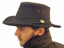 Campbell Cooper Leather Australian Kangaroo Bush Hat Black Large 59