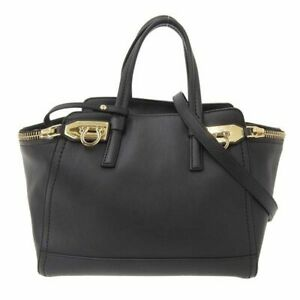 Auth Salvatore Ferragamo FERRAGAMO Leather Gancini 2WAY Handbag Black EZ-21 E762