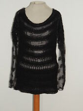 Chan Luu Black Chenille / Lace w Sequin Sweater w Sequins  MED