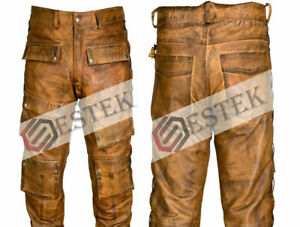 Mens Leather Jeans Pant Trouser Cargo Pockets Cowhide Brown Breeches Tan BIKER
