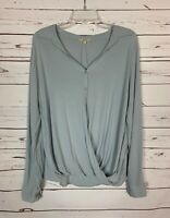 Kori America Boutique Women's S Small Gray Long Sleeve Button Top Shirt Blouse