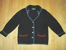 Giesswein Navy Boiled Wool Cardigan Sweater Jacket Button Front Women's 14  NYZ9