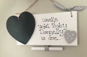 New Baby Pregnancy Countdown Plaque Chalkboard Personalised Baby Shower Gift