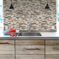 6-Pack DIY Peel-n-Stick Self Adhesive Mosaic Kitchen Wall Tile Backsplash Brown