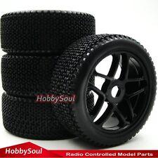 4pcs New 1/8 RC Off-road Buggy Reifen Tires Tyres & Hex 17mm Felge Rims W/ Foam