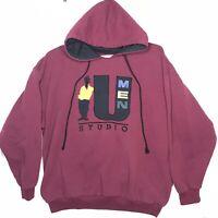 Umen Studio Vtg 90s XL Purple Pullover Hoodie Sweatshirt HipHop Fresh Streetwear