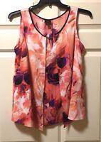 Worthington Women's Blouse Sleeveless Dressy Orange Floral Multi-Layered Tops L