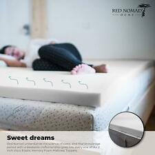 Ultra Premium 2 Inch Thick, Elastic Memory Foam Mattress Pad Bed By Red Nomad