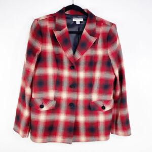 Pendleton Womens Red Plaid Single Breast Virgin Wool Peak Lapel Career Blazer 14