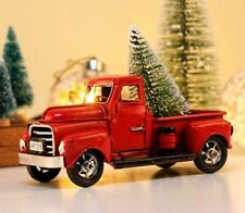 Little Metal Christmas Red Truck Vintage Tree Decor Handcrafted Children Gift