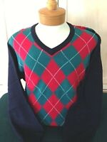 New NWT Mens Pringle Argyle V-neck S,M, L, XL Navy ,Red,Green Sweater $90 value