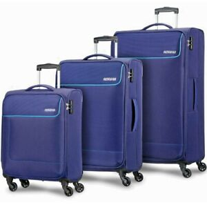 American Tourister Funshine Set of 3 Soft Luggage Suitcases Trolley Bags Blue