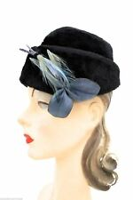 James Campbell Vtg Ladies Bucket Hat Black Mousse Leather Leaves Feathers 1950s