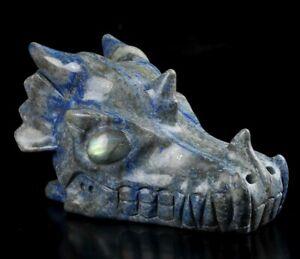 """5.3"""" LAPIS LAZULI  Carved Crystal Dragon Skull & Labradorite Eyes"""