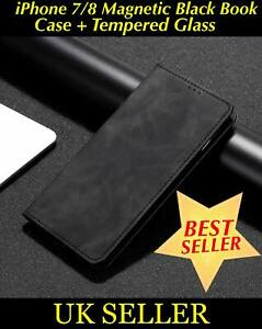 iPhone 7 / 8 Flip Magnetic Leather Book Case Cover Card Wallet + Tempered Glass