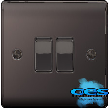 BG Nexus NBN42 Polished/Black Nickel Twin Light Switch 2 Gang 2 Way