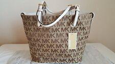 Michael Kors Jet Set Grab Bag Signature Tote Tan Beige Ebony Vanilla White $248