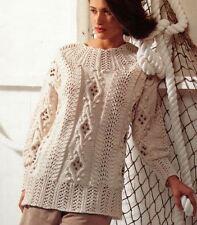 Knitting Pattern Lady's Aran Cable, Lace & Bobble Sweater (optional beads)  (66)