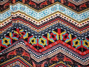 Printed Liverpool Textured Fabric 4 Way Stretch Chevron Paisley Aztec Red I201