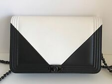 Chanel  Boy Wallet On Chain WOC Bag So Black & White Geometric 17P Black Hdwe