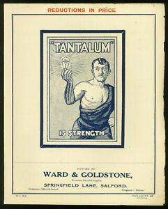 1913 ~Antique TANTALUM Light Globe Brochure ~Metal Filament Lamps, Candle Lamps