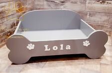 Large L Personalised Wood Dog bed in Stone Grey or Cream  Kikidesigns.online