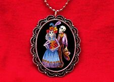 SUGAR SKULL COUPLE DAY OF THE DEAD TATTOO BLUE NECKLACE