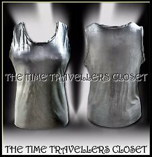 KATE MOSS TOPSHOP LTD EDITION FLUID SILVER GREY METALLIC VEST TOP UK 12 14 M