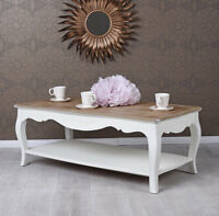Table basse shabby chic de salon d'APPOINT BLANC en bois ancien